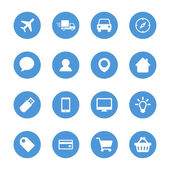 Set of icons, white silhouettes on the blue circles. — Stock Vector