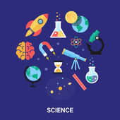 Science vector illustration, flat icons. Astronomy, chemistry, physics, maths, biology, solar system. — Stock Vector
