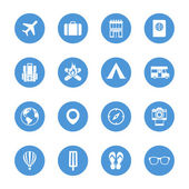Set of travel and camping icons, white silhouettes on the blue circles. — Stock Vector