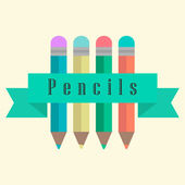 Set of pencils with a ribbon — Stock Vector