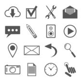 Black and white icons set for web and mobile applications — Stock Vector