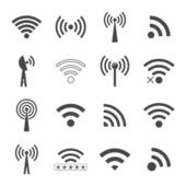 Set of different black vector wifi icons, concept of communicati — Stock Vector