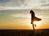 Woman at Sunset — Stock Photo