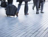 Moving feet of commuters with space for copy — Stock Photo