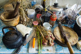 Pile of dirty dishes in the kitchen - Compulsive Hoarding Syndro — Stock Photo