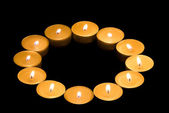 tea lights in the shape of a circle — Stockfoto