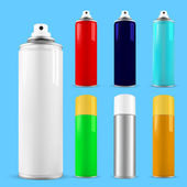 Set of spray cans - opened and with cap — Stock Vector