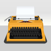 Realistic typewriter with sheet of paper - isolated on grey. Vec — 图库矢量图片