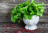 Parsley and pink pepper — Stok fotoğraf