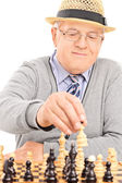 Pensioner playing chess  — Stock Photo