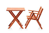 Wooden folding beach furniture — Stock Photo