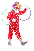 Funny clown holding hula hoops — Stock Photo