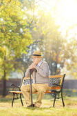 Senior gentleman with cane on bench — Stock Photo