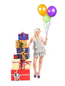 Woman with ballons — Stock Photo