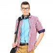 Student with shoulder bag and headphones — Stock Photo #45861779