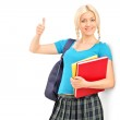 Female student giving thumb up — Stock Photo #45865503