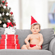 Little baby with Santa hat — Stock Photo #45868545