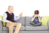 Grandad shouting at nephew — Stock Photo