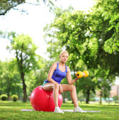 Woman with a dumbbell and pilates ball — Stock Photo