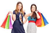 Alışveriş torbaları tutan kadın — Stok fotoğraf