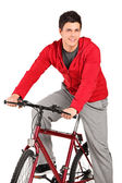 Bicyclist on bicycle — Stock Photo