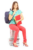 Student with bag holding notebooks — Stock Photo