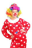 Female clown in red costume — Stock Photo