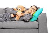 Guy sleeping on sofa — Stock Photo