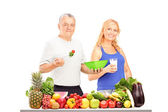 Two persons consuming healthy products — Stock Photo
