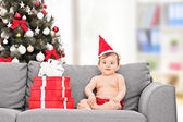 Little baby with Santa hat — Foto de Stock