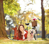 Kvinna med labrador i en park — Stockfoto