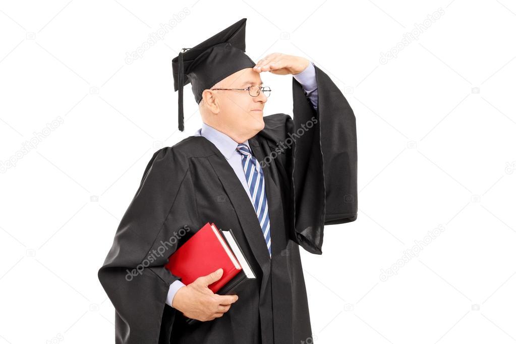 College professor in graduation gown — Stock Photo ...