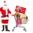 Santa Claus pushing shopping cart — Stock Photo #45873269