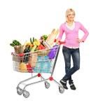 Woman next to shopping cart — Stock Photo #45876439