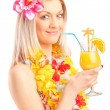 Woman drinking cocktail — Stock Photo