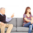 Father reprimending his uninterested daughter — Stock Photo