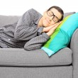 Man calmly sleeping on a couch — Stock Photo #45877999