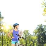 Female biker on a mountain bike — Stock Photo #45878163