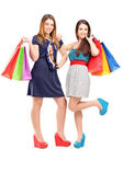 Two females holding shopping bags — Stock Photo