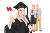 Graduate student and her parents — Stock Photo
