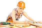 Female carpenter working — Stock Photo