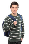 Boy with school bag posing — Stock Photo