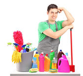 Male cleaner with cleaning equipment — Stock Photo