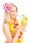 Žena pít koktejl — Stock fotografie