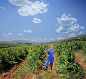 Vintner posing at his vineyard — Stock Photo