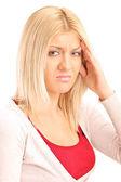 Blondýnka prožívání bolesti hlavy — Stock fotografie
