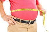 Fat man measuring his belly — Stock Photo
