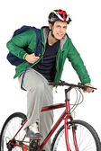 Bicyclist on bicycle posing — Stockfoto