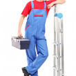 Worker holding a tool box — Stock Photo
