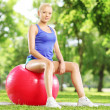 Female athlete on fitness ball — 图库照片 #45885809